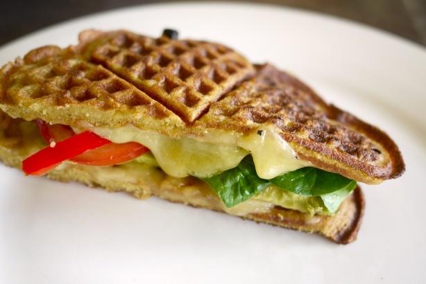 waffle egg cheese and veg sandwich | yum. | Pinterest