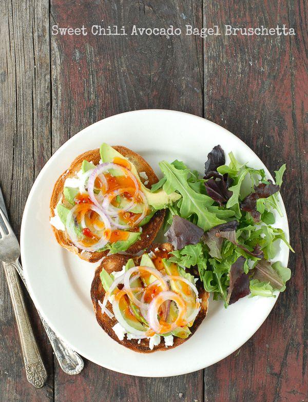Sweet Chili Avocado Bagel Bruschetta - BoulderLocavore.com