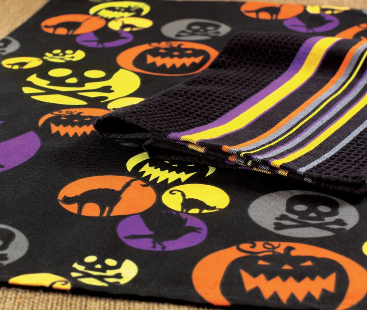 spooktacular dishtowel set in black, orange, yellow, and purple ...