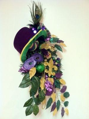 Mardi Gras Wreath Top Hat Wreath New Orleans Style Door Wreath