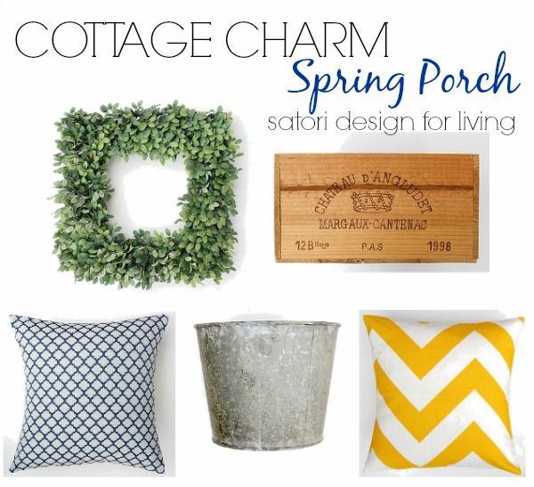 Home Decor Items for a Cottage Charm Spring Front Porch via @Shauna Oberg @ Satori Design