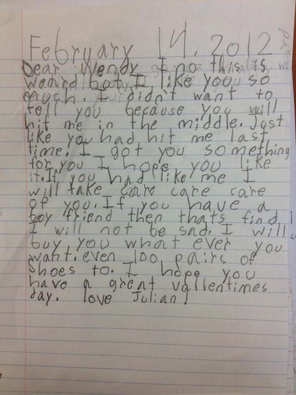 When children write love letters!