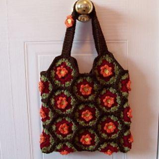 Hexagon Crochet Bag Pattern : Hexagon-fall-flower-tote_small2 Crochet Purses/Tote Bags Pinterest