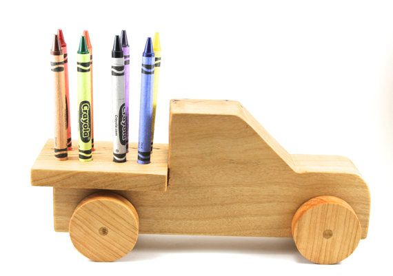 Handmade Toy Car Holder : Handmade wooden toy truck crayon holder great gift for