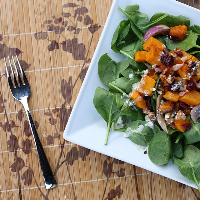 roasted butternut squash salad with blue cheese vinaigrette