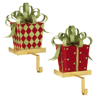 Raz flocked christmas present stocking holder set of 2 2 assorted