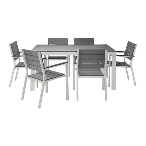 falster table 6 armchairs outdoor gray. Black Bedroom Furniture Sets. Home Design Ideas