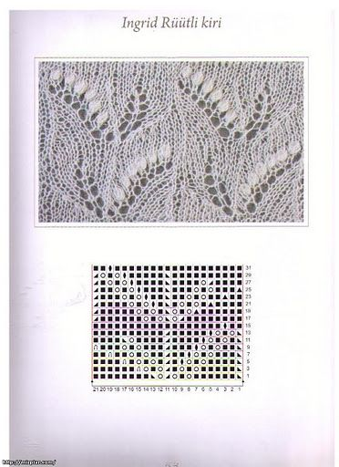 Схема ажурного узора ландыш спицами с описанием
