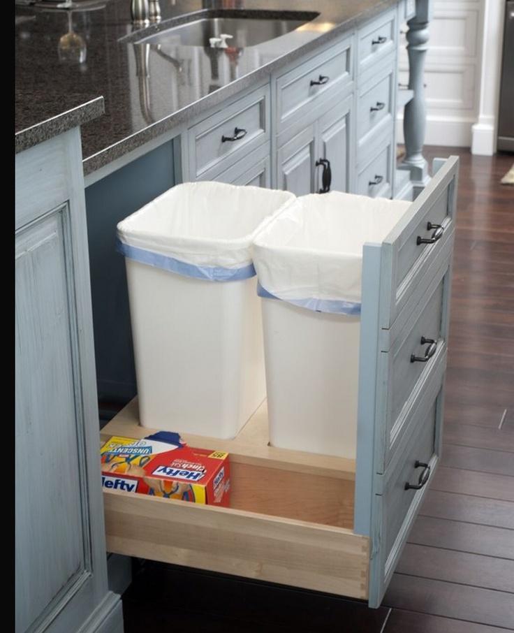 trash recycle bin inside cabinet for the home pinterest. Black Bedroom Furniture Sets. Home Design Ideas