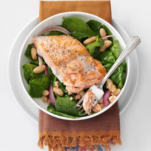 Roasted Salmon & White Bean Spinach Salad | Recipe