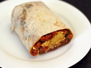 Breakfast Burrito with Chorizo, Potato, Egg, and Avocado
