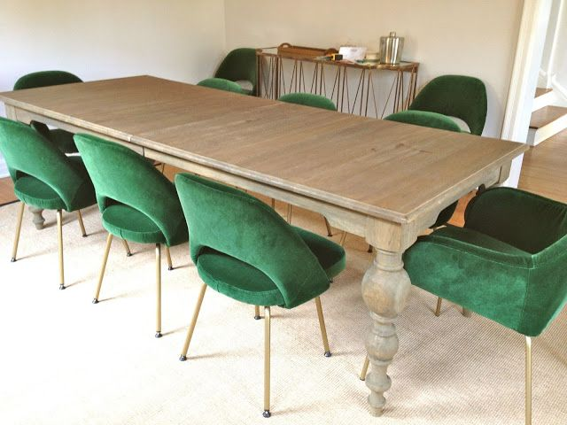 Green velvet saarinen dining chairs chair obsession pinterest