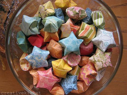 Origami stars with uplifting messages