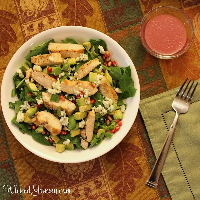 Chicken and Avocado Salad with Pomegranate Vinaigrette