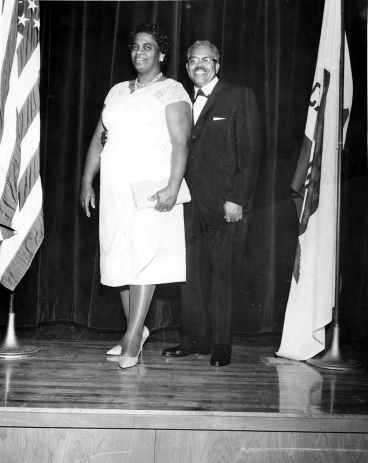 Reverend Hillery T. Broadous and wife Rosa L. Broadous at the mortgage burning banquet for Calvary Baptist Church of Pacoima, January 1963. The Broadous' were married in 1937. San Fernando Valley History Digital Library.