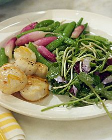 Seared Scallops with Sugar Snap Peas and Radishes | Recipe