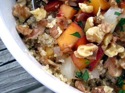 Quinoa with Peaches and Grilled Vidalias | eat, drink, and be merry ...