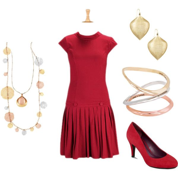 """Red for the Office"" by katie-harris-okeefe on Polyvore - You can find all this jewelry in my boutique at http://www.chloeandisabel.com/boutique/katieokeefe"