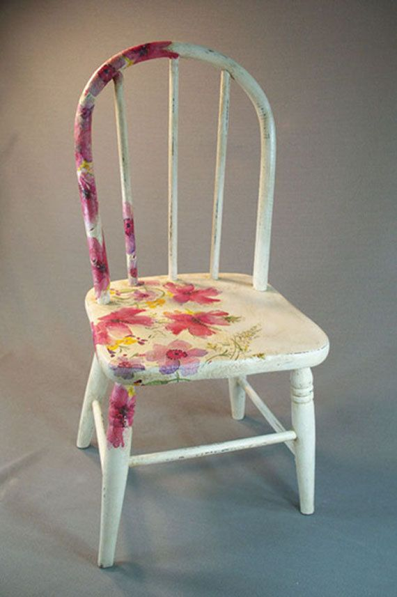 Antique Wooden Child S Chair With Decoupage Flowers And Chalk Paint F
