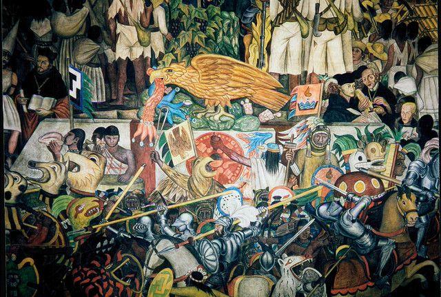 Diego rivera mural mexico city frida kahlo diego for Diego rivera la conquista mural
