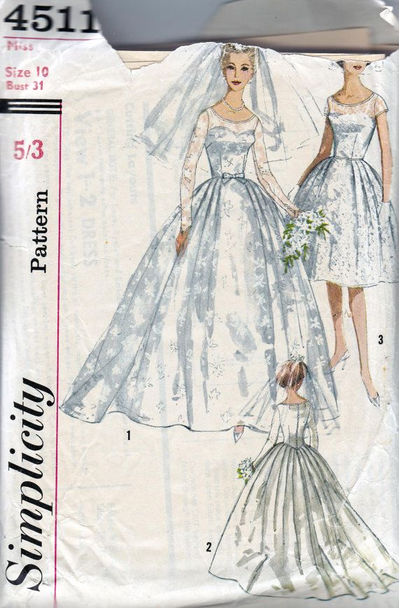 1960s vintage sewing pattern stunning full skirt wedding for Wedding dress patterns vintage