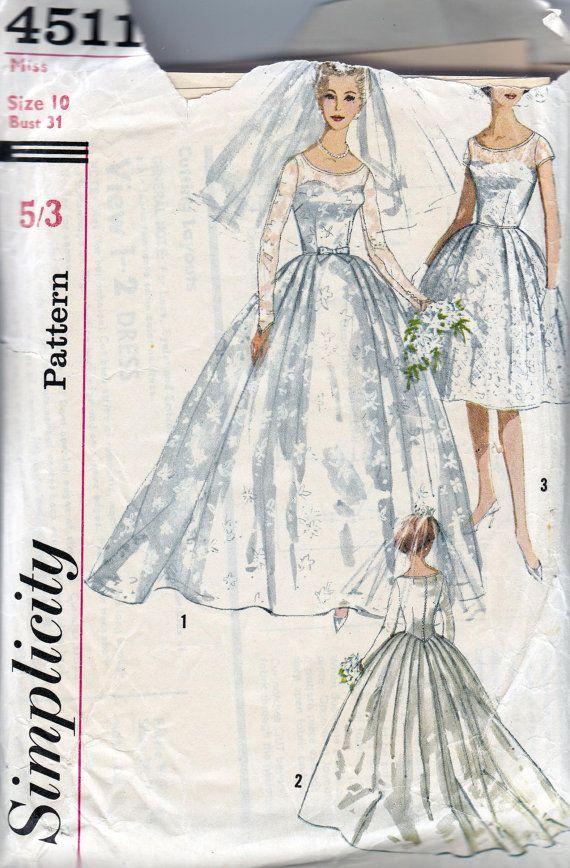 1960s vintage sewing pattern stunning full skirt wedding for Wedding dress sewing patterns free