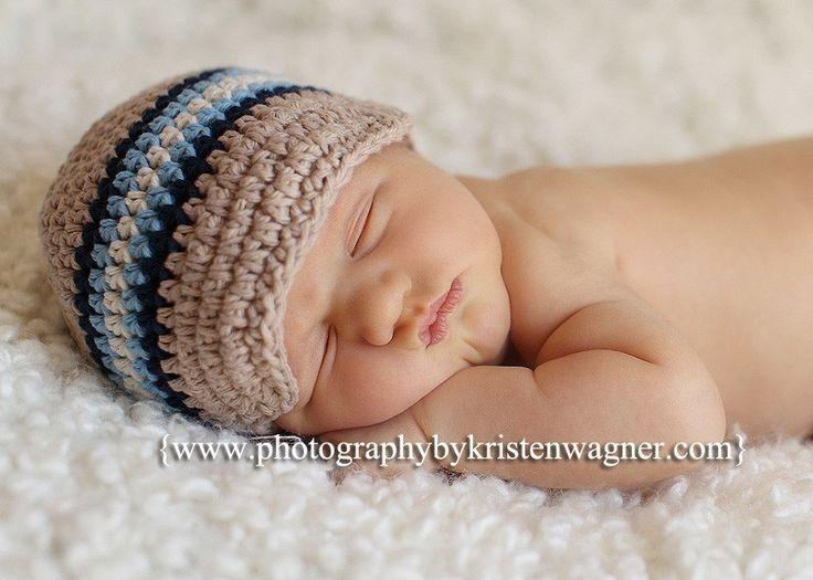 Crochet Hat Pattern Baby Boy Visor Beanie Newsboy Hat Cap ...