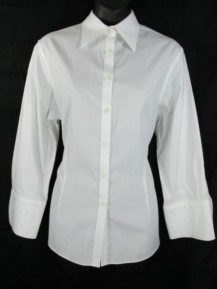 Brooks Brothers Womens White 3 4 Sleeve Button Down Shirt