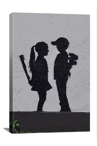 Banksy Boy Meets Girl 12in x 18in Canvas Print