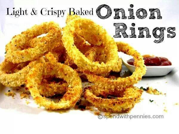 Light and crispy baked onion rings | receipes | Pinterest