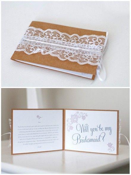 bridesmaid asks - lace cards