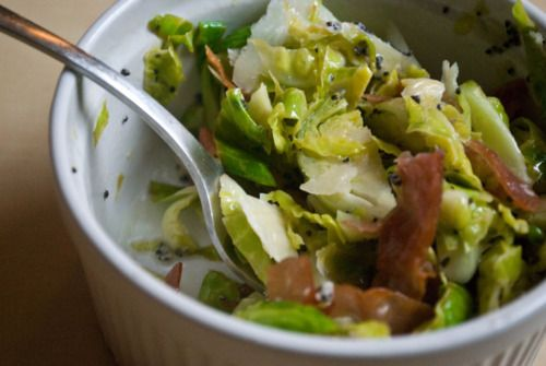 Hashed Brussels with Lemon Dressing and Crispy Prosciutto
