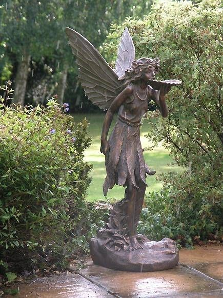 Large standing fairy statue garden ornament - Large garden fairy statues ...
