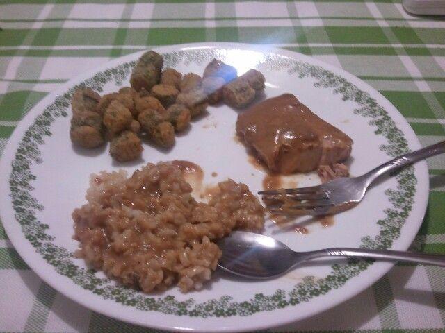 Pork Chops and Mushroom Gravy...3-4 pork chops, 3/4 c milk, 3/4 c ...