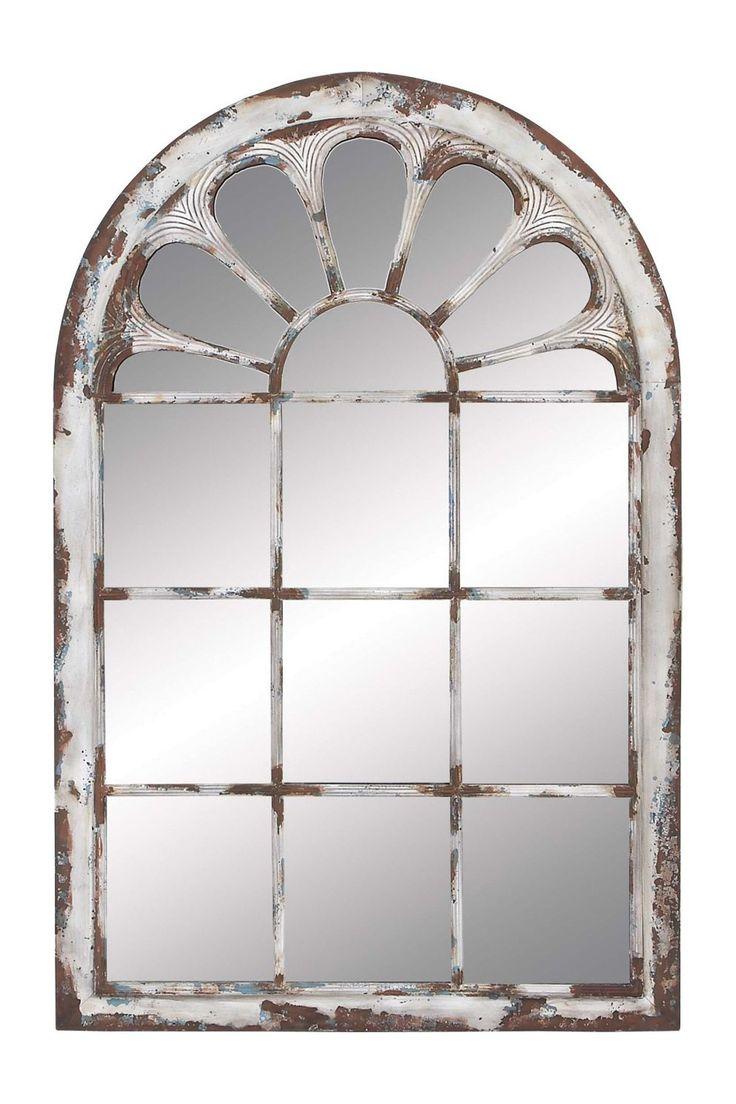 Distressed window mirror wall decor dream home pinterest for Window wall mirror