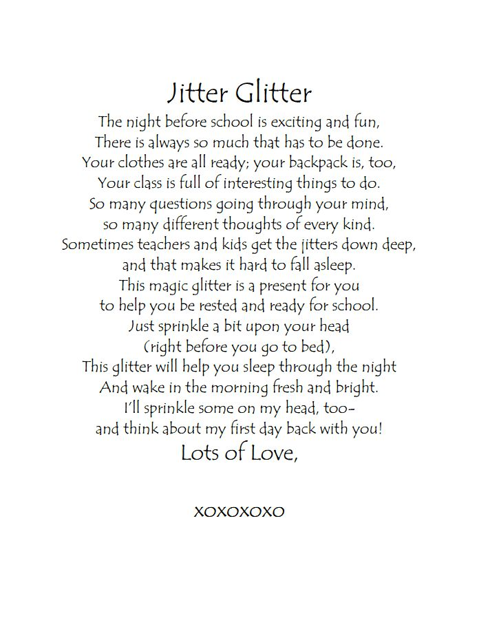 This is a photo of Critical Jitter Glitter Poem Printable