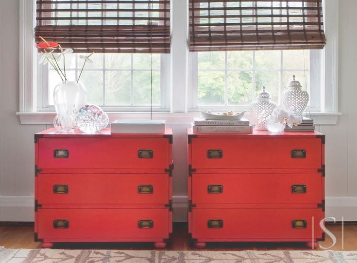 Coral Painted Campaign Furniture. Great as two oversized nightstand.