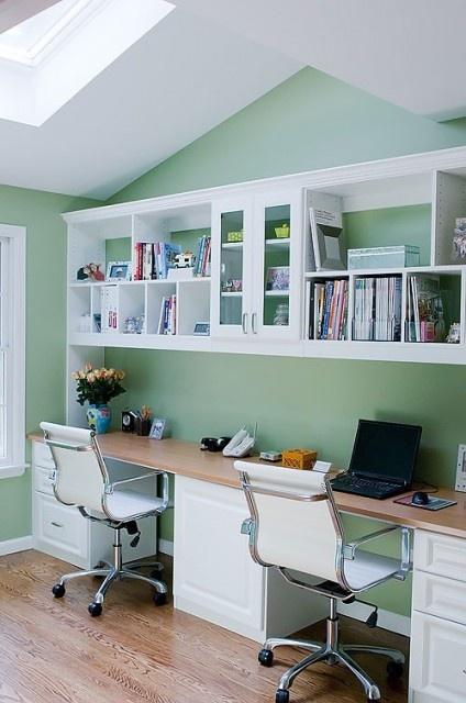 Long desk office space pinterest for Long office desk