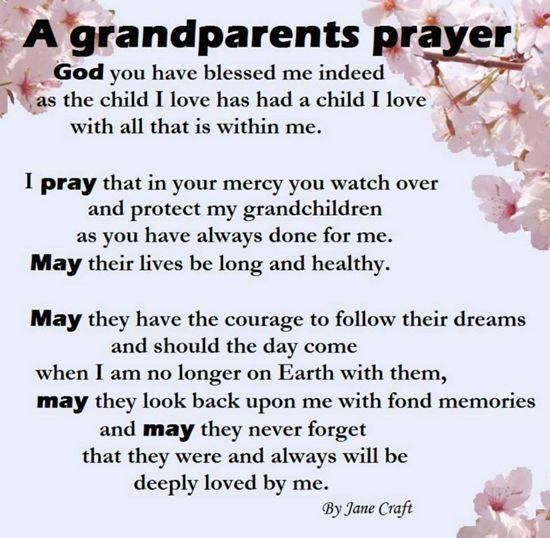 grandparents are a blessing for us The grandparent's prayer sermon it is good if they drive us to the store and have lots of quarters for us - when they take us for walks.