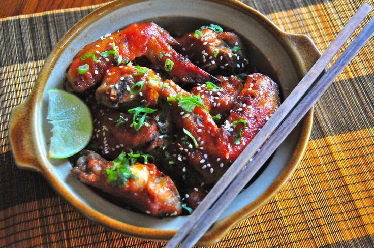 Spicy Sriracha Sesame Chicken Wings | Grub | Pinterest