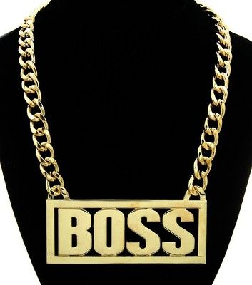 "Gold ""BOSS"" Rectangle Box Statement Necklace Chain Boxed ..."