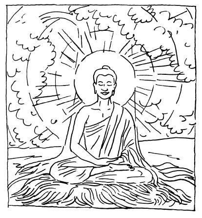 Buddha meditating under bodhi tree coloring page sketch for Buddha coloring pages