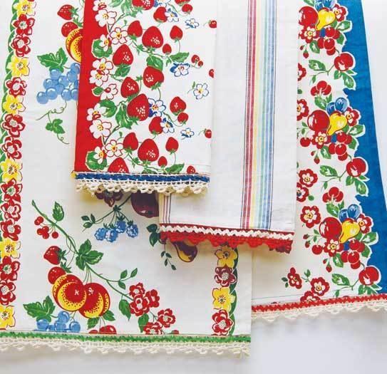 Moda Vintage Style Dish Or Tea Towels Berries Jubilee 4 Towel Set