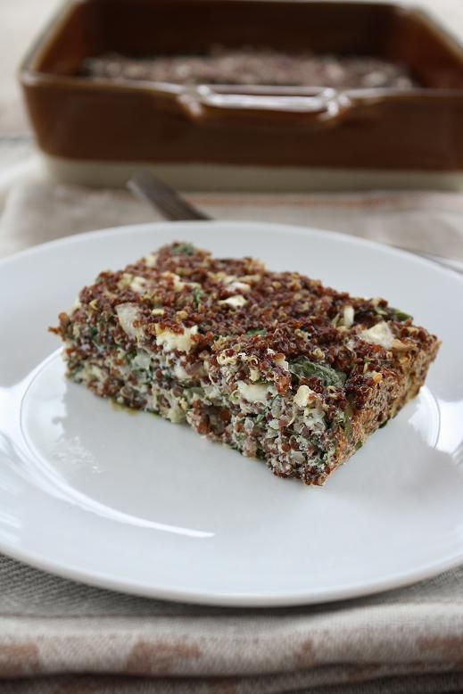 Baked Red Quinoa with Chard & Feta | Epicurious | Pinterest