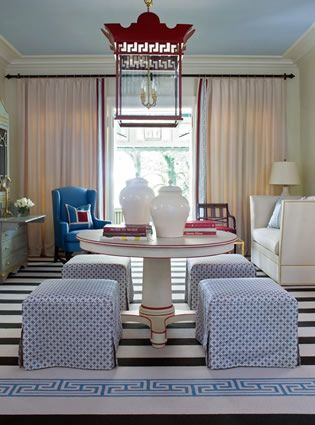 Tobi Fairley, Richmond Showhouse, red white and blue, lantern, blue ceiling, striped rug, living room
