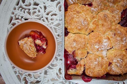 Sweet Cherry, Black Plum and Yellow Peach Cobbler   Recipe