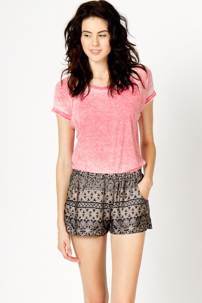 Black and Tan Print Shorts