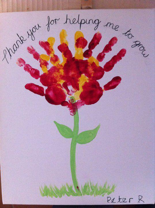 Thank you for helping me grow :)  Teacher's Appreciation handprint flower card