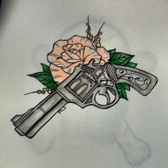 Gun sketch tattoo