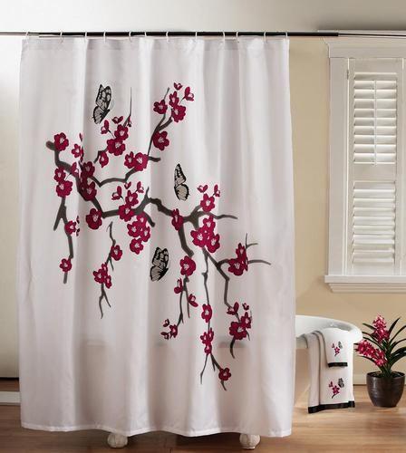 Exotic asian cherry blossom bathroom shower curtain ebay
